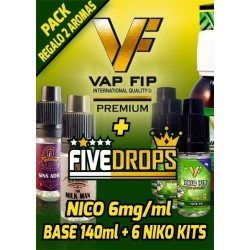 BASE 140ml + 6 NIKO KITS -NICO 6mg/ml- MÁS DOS AROMAS FIVE DROPS DE REGALO