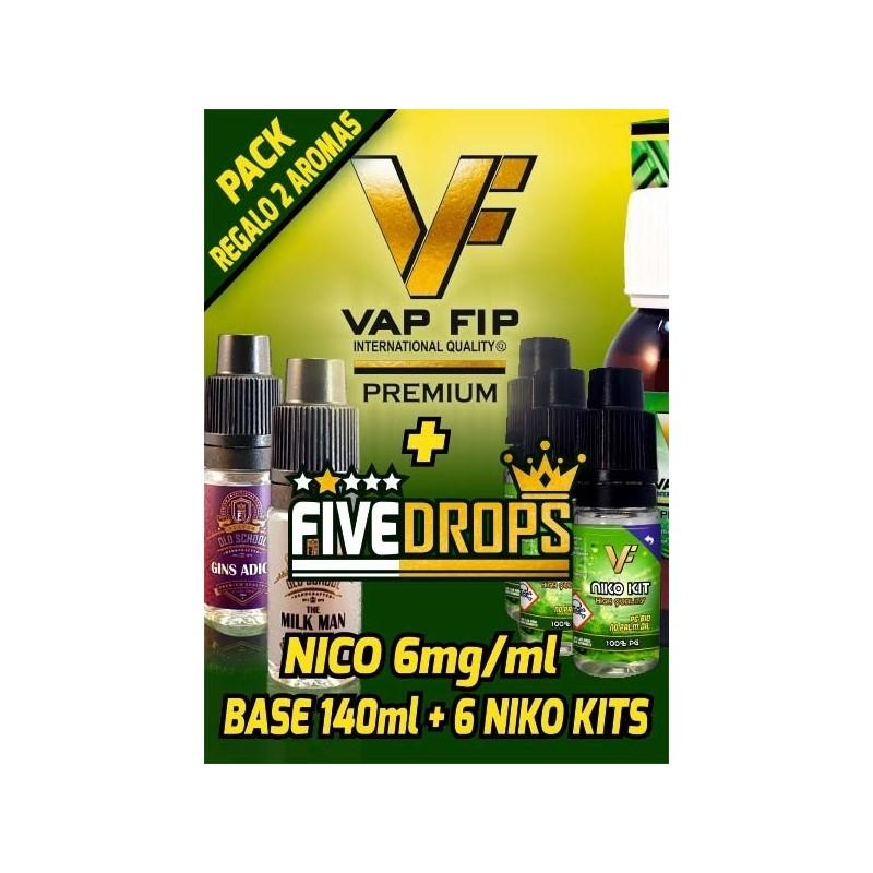BASE 140ml + 6 NIKO KITS -NICO 6mg/ml- MÁS DOS AROMAS FIVE DROPS DE REGALO